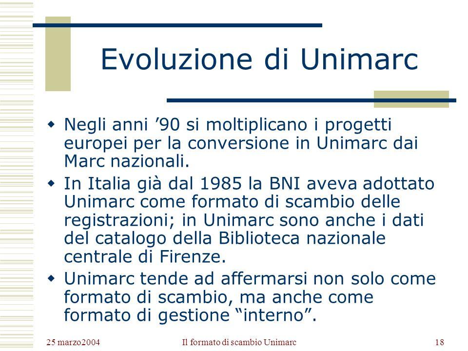 25 marzo2004 Il formato di scambio Unimarc17 Aggiornamenti e Raccomandazioni Negli anni 90 lIFLA costituisce il PUC (Permanent Uniamrc Committee) con