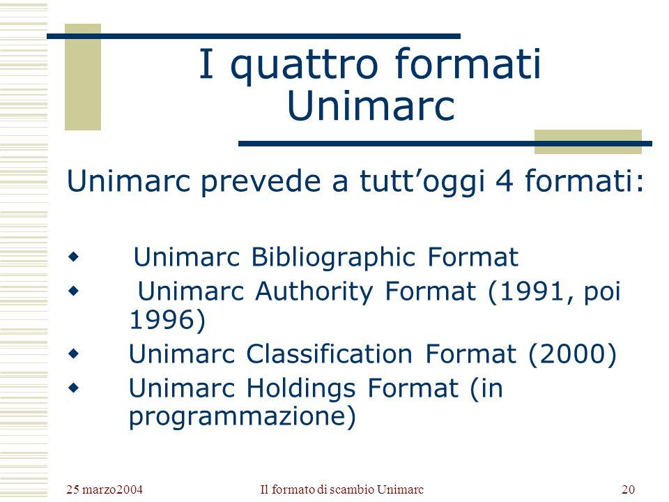 25 marzo2004 Il formato di scambio Unimarc19 La catalogazione con Unimarc Unimarc è sviluppato sulla base delle ISBD, prevede pertanto campi e codici