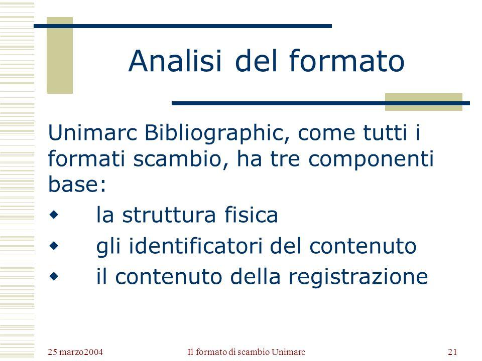 25 marzo2004 Il formato di scambio Unimarc20 I quattro formati Unimarc Unimarc prevede a tuttoggi 4 formati: Unimarc Bibliographic Format Unimarc Authority Format (1991, poi 1996) Unimarc Classification Format (2000) Unimarc Holdings Format (in programmazione)