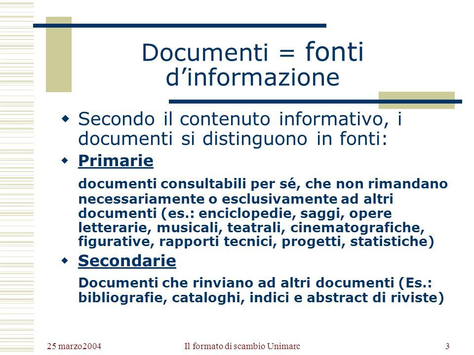 25 marzo2004 Il formato di scambio Unimarc2 Definizioni Documento: «Qualsiasi oggetto utilizzabile a fini di consultazione, ricerca, informazione» (De