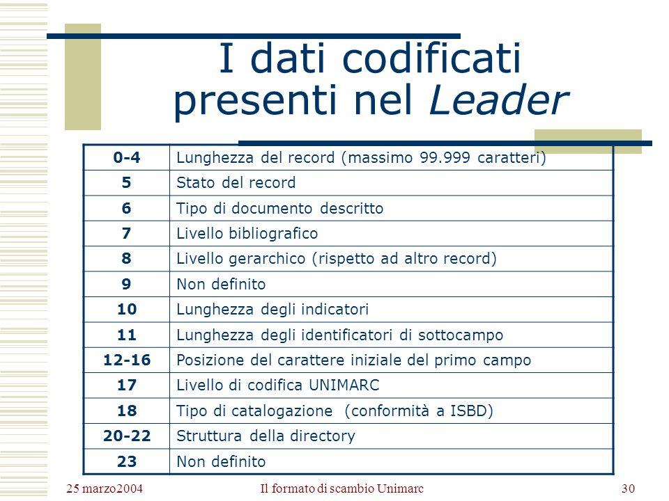 25 marzo2004 Il formato di scambio Unimarc29 Letichetta del record: Leader È una stringa di 24 caratteri contenenti informazioni generali sul record espresse in codice.