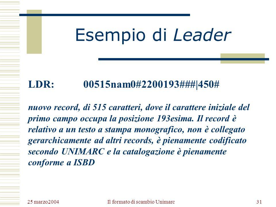 25 marzo2004 Il formato di scambio Unimarc30 I dati codificati presenti nel Leader 0-4Lunghezza del record (massimo 99.999 caratteri) 5Stato del recor