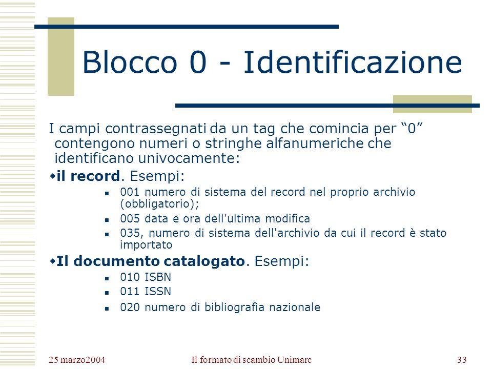 25 marzo2004 Il formato di scambio Unimarc32 I blocchi Unimarc 0Blocco di identificazione 1Blocco delle informazioni codificate 2Blocco delle informaz