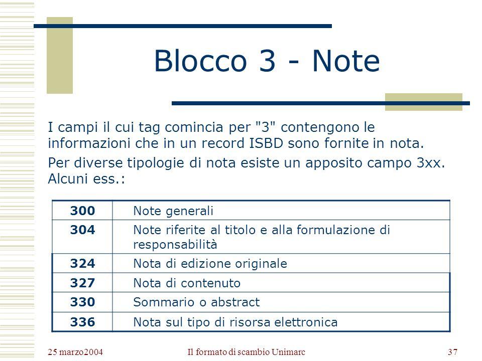25 marzo2004 Il formato di scambio Unimarc36 I campi più importanti del blocco 2 200Titolo e formulazione di responsabilità 205Edizione 210Pubblicazio