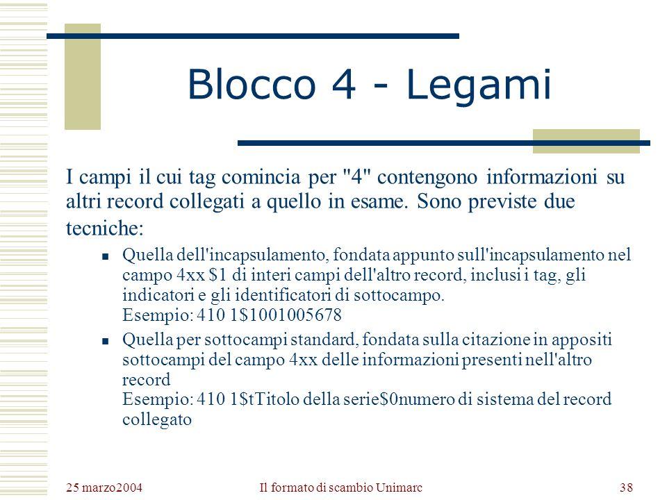 25 marzo2004 Il formato di scambio Unimarc37 Blocco 3 - Note I campi il cui tag comincia per 3 contengono le informazioni che in un record ISBD sono fornite in nota.