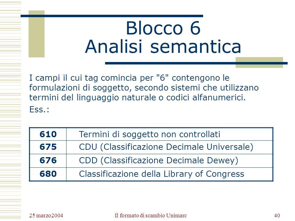 25 marzo2004 Il formato di scambio Unimarc39 Blocco 5 Titoli in relazione I campi il cui tag comincia per 5 contengono titoli associati alla pubblicazione catalogata.