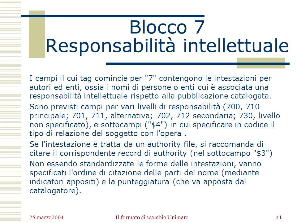 25 marzo2004 Il formato di scambio Unimarc40 Blocco 6 Analisi semantica I campi il cui tag comincia per 6 contengono le formulazioni di soggetto, secondo sistemi che utilizzano termini del linguaggio naturale o codici alfanumerici.
