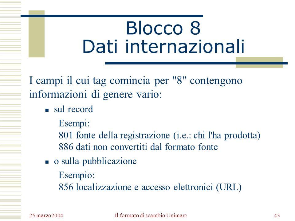 25 marzo2004 Il formato di scambio Unimarc42 I campi del blocco 7 700Autore personale – Responsabilità principale 701Autore personale – Responsabilità