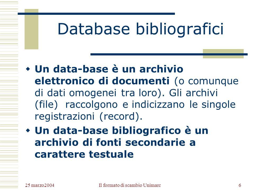 25 marzo2004 Il formato di scambio Unimarc5 Repertori bibliografici in ambiente elettronico Un repertorio bibliografico in ambiente elettronico può co