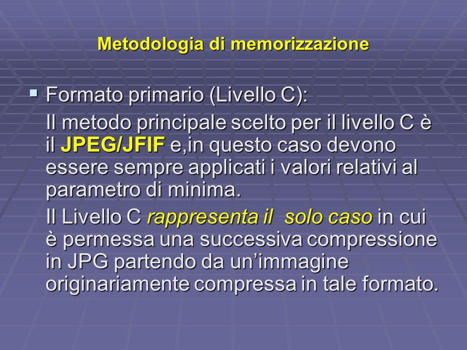Metodologia di memorizzazione Formato primario (Livello C): Formato primario (Livello C): Il metodo principale scelto per il livello C è il JPEG/JFIF e,in questo caso devono essere sempre applicati i valori relativi al parametro di minima.