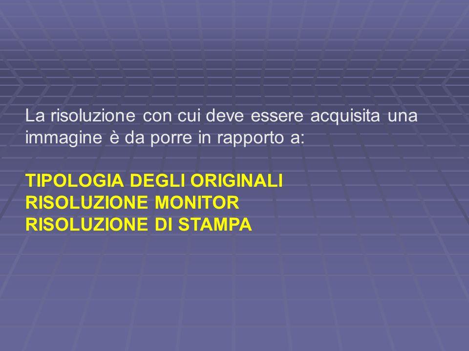 La risoluzione con cui deve essere acquisita una immagine è da porre in rapporto a: TIPOLOGIA DEGLI ORIGINALI RISOLUZIONE MONITOR RISOLUZIONE DI STAMPA