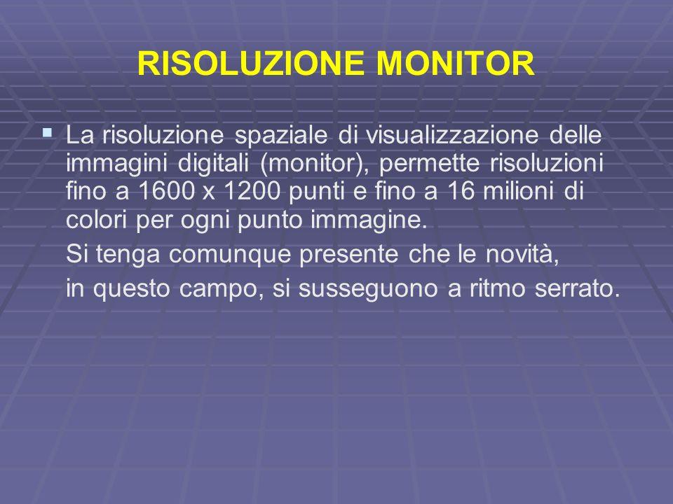 RISOLUZIONE MONITOR La risoluzione spaziale di visualizzazione delle immagini digitali (monitor), permette risoluzioni fino a 1600 x 1200 punti e fino a 16 milioni di colori per ogni punto immagine.