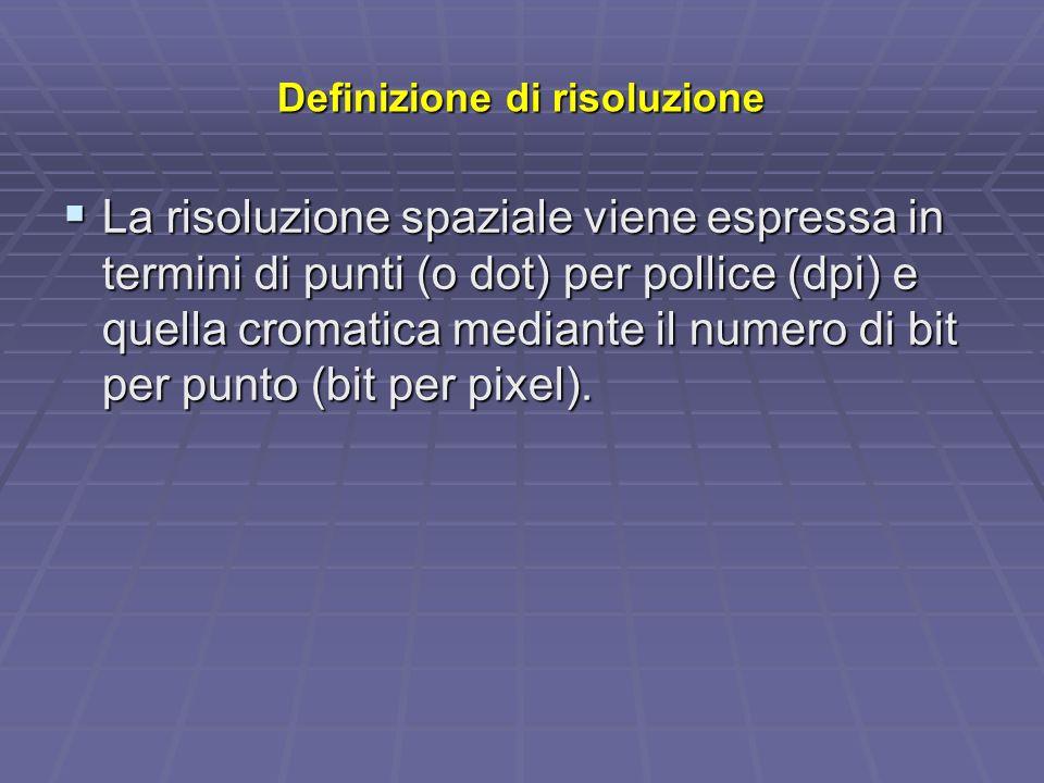 Definizione di risoluzione La risoluzione spaziale viene espressa in termini di punti (o dot) per pollice (dpi) e quella cromatica mediante il numero di bit per punto (bit per pixel).