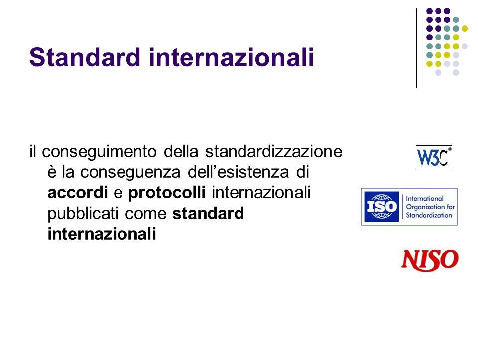 Standard internazionali il conseguimento della standardizzazione è la conseguenza dellesistenza di accordi e protocolli internazionali pubblicati come