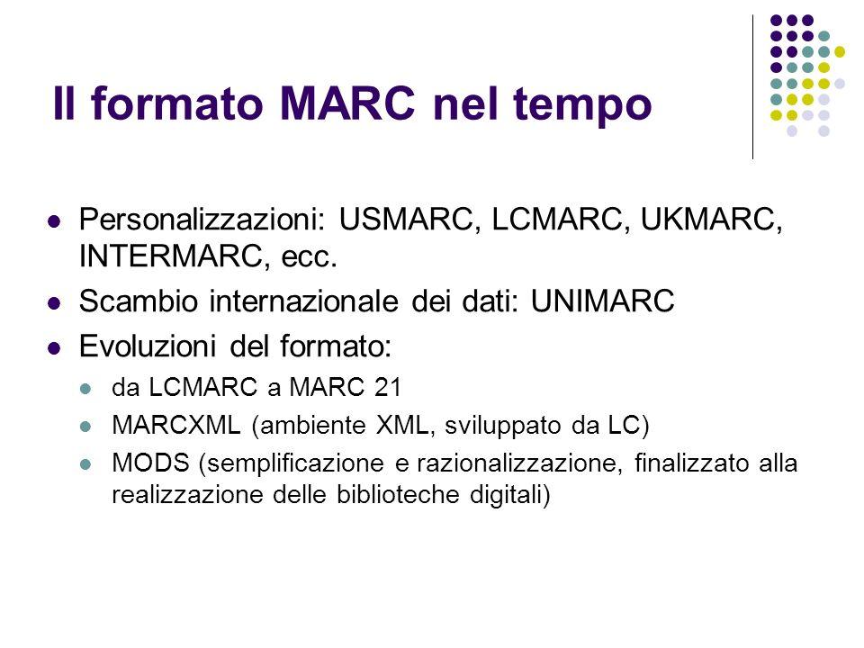 Il formato MARC nel tempo Personalizzazioni: USMARC, LCMARC, UKMARC, INTERMARC, ecc. Scambio internazionale dei dati: UNIMARC Evoluzioni del formato: