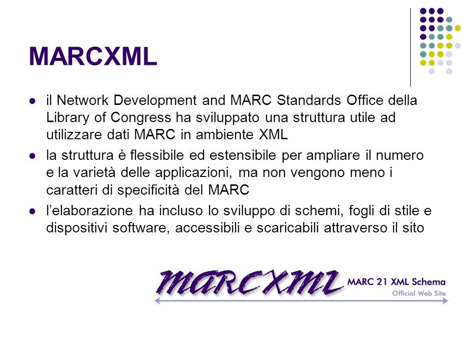 MARCXML il Network Development and MARC Standards Office della Library of Congress ha sviluppato una struttura utile ad utilizzare dati MARC in ambien