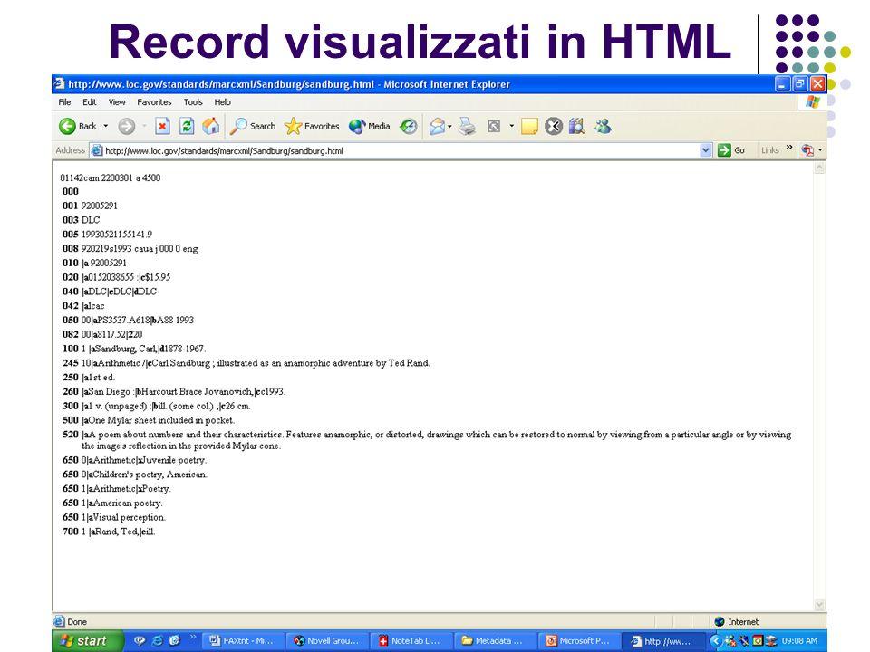 Record visualizzati in HTML