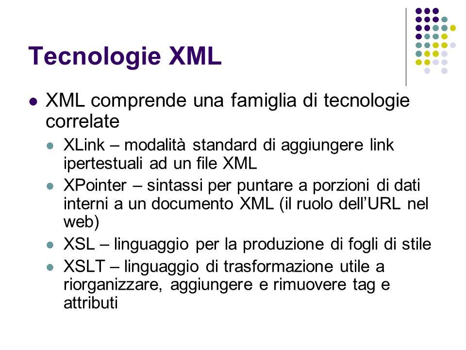 Tecnologie XML XML comprende una famiglia di tecnologie correlate XLink – modalità standard di aggiungere link ipertestuali ad un file XML XPointer –