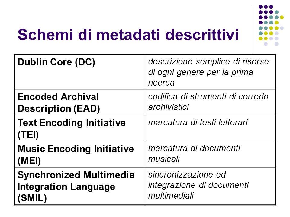 Schemi di metadati descrittivi Dublin Core (DC) descrizione semplice di risorse di ogni genere per la prima ricerca Encoded Archival Description (EAD)