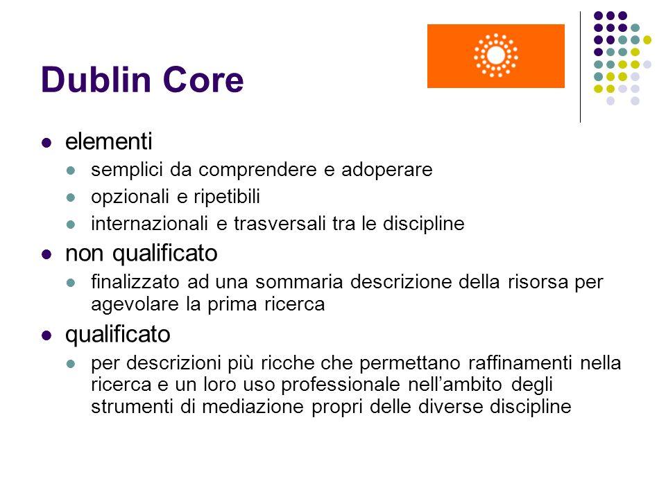 Dublin Core elementi semplici da comprendere e adoperare opzionali e ripetibili internazionali e trasversali tra le discipline non qualificato finaliz
