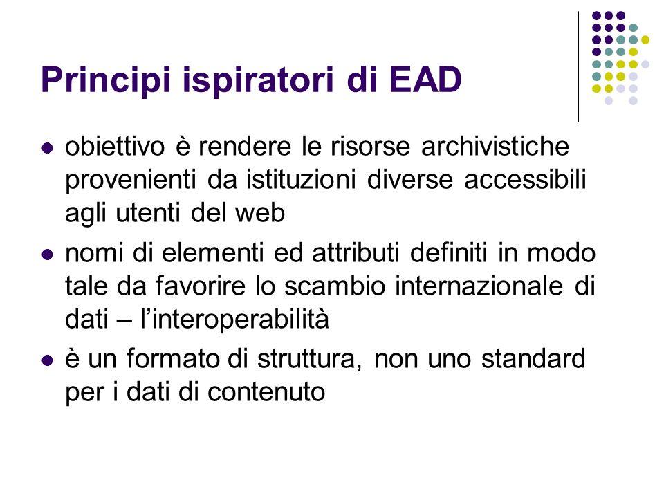 Principi ispiratori di EAD obiettivo è rendere le risorse archivistiche provenienti da istituzioni diverse accessibili agli utenti del web nomi di ele