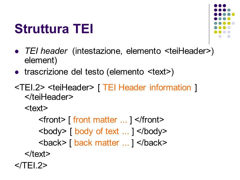 Struttura TEI TEI header (intestazione, elemento ) element) trascrizione del testo (elemento ) [ TEI Header information ] [ front matter... ] [ body o