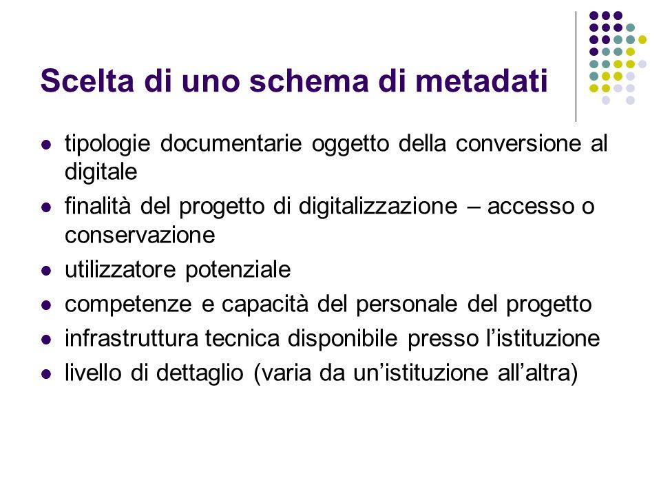 Scelta di uno schema di metadati tipologie documentarie oggetto della conversione al digitale finalità del progetto di digitalizzazione – accesso o co