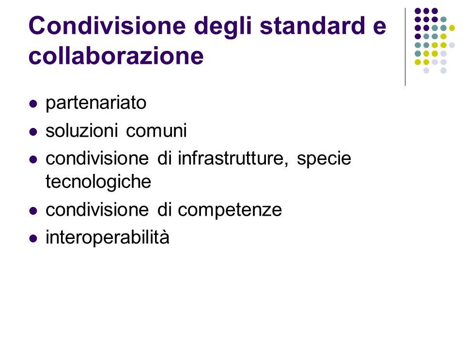 Condivisione degli standard e collaborazione partenariato soluzioni comuni condivisione di infrastrutture, specie tecnologiche condivisione di compete