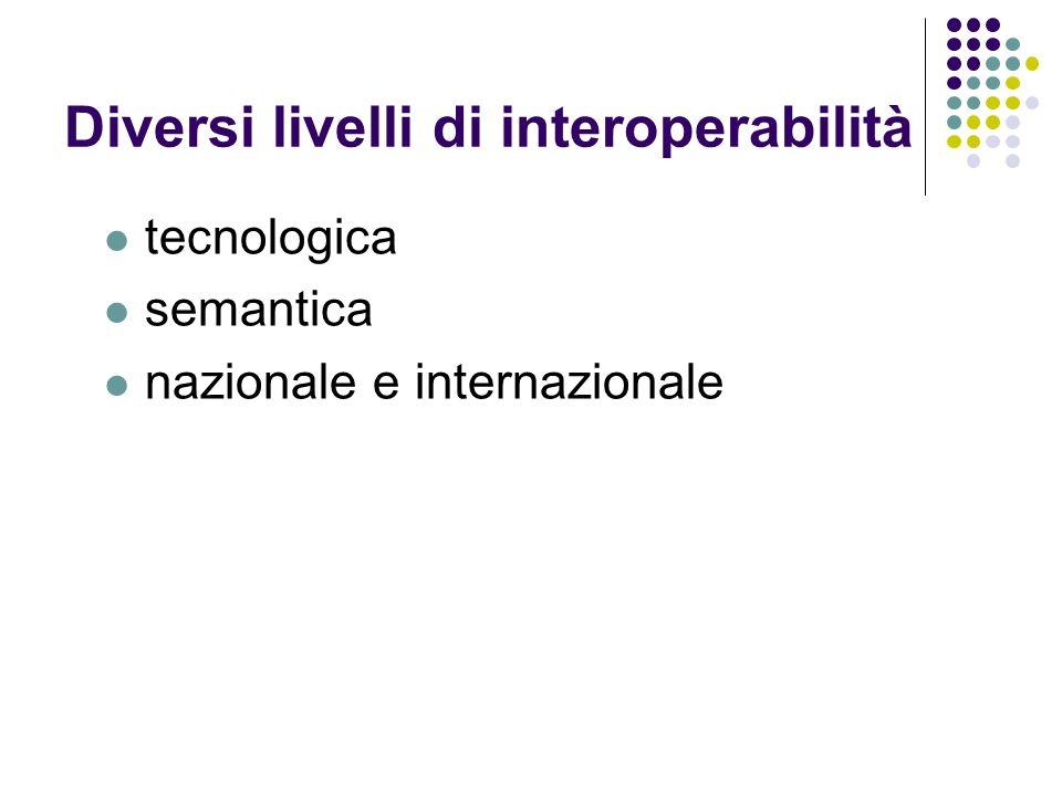 Diversi livelli di interoperabilità tecnologica semantica nazionale e internazionale