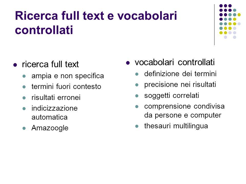Ricerca full text e vocabolari controllati ricerca full text ampia e non specifica termini fuori contesto risultati erronei indicizzazione automatica