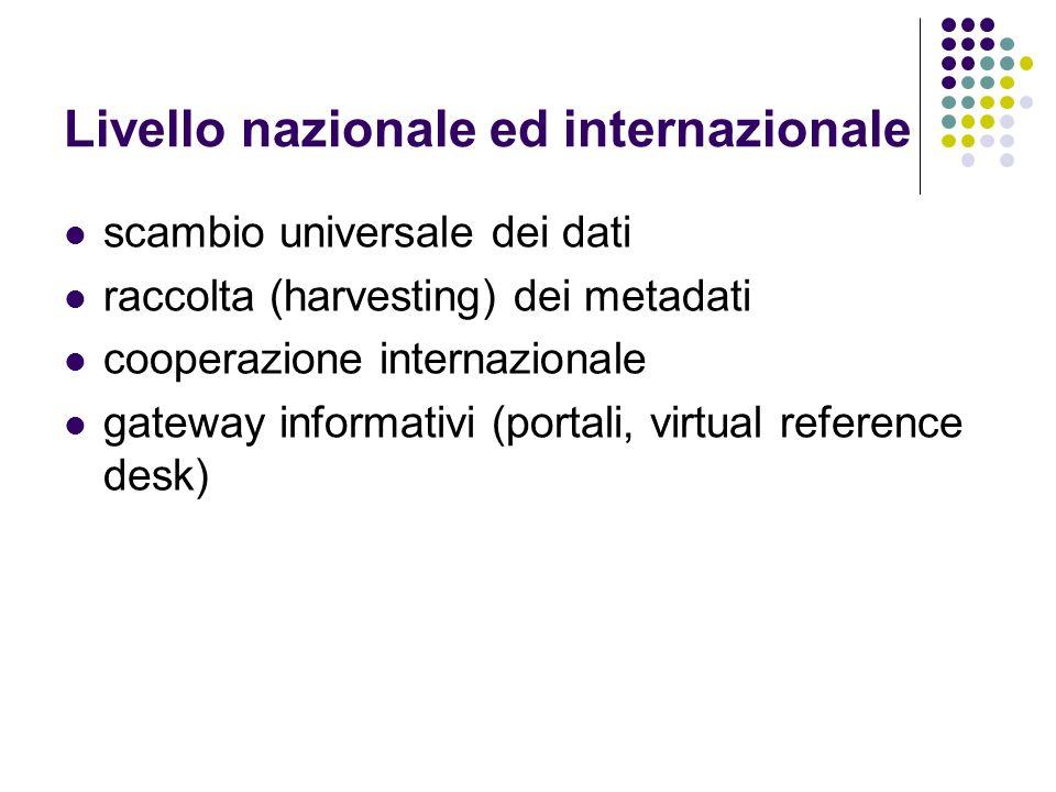 Livello nazionale ed internazionale scambio universale dei dati raccolta (harvesting) dei metadati cooperazione internazionale gateway informativi (po