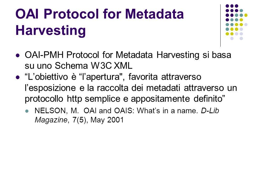 OAI Protocol for Metadata Harvesting OAI-PMH Protocol for Metadata Harvesting si basa su uno Schema W3C XML Lobiettivo è lapertura