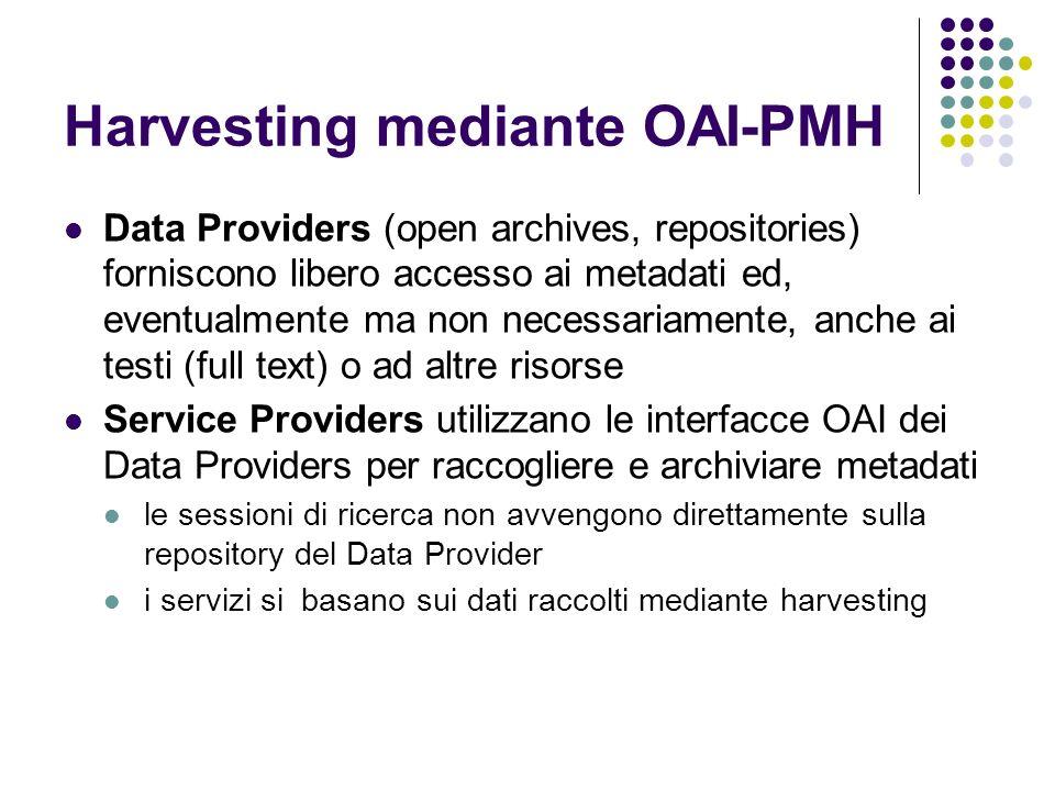 Harvesting mediante OAI-PMH Data Providers (open archives, repositories) forniscono libero accesso ai metadati ed, eventualmente ma non necessariament