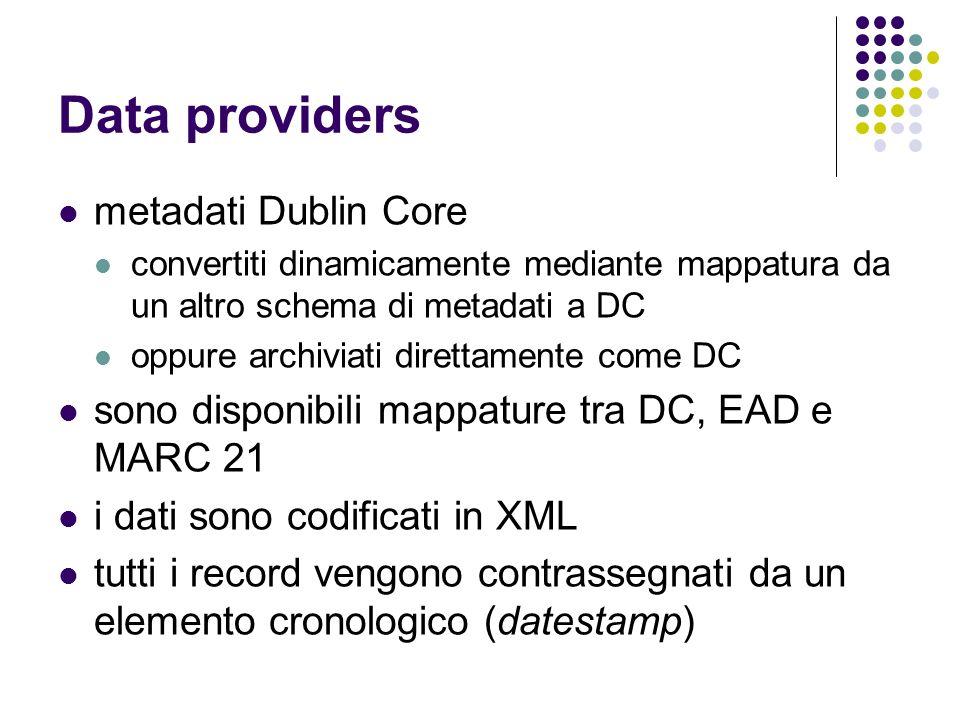 Data providers metadati Dublin Core convertiti dinamicamente mediante mappatura da un altro schema di metadati a DC oppure archiviati direttamente com
