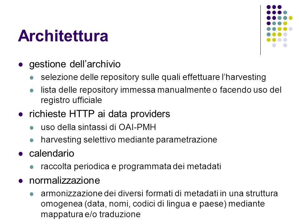 Architettura gestione dellarchivio selezione delle repository sulle quali effettuare lharvesting lista delle repository immessa manualmente o facendo