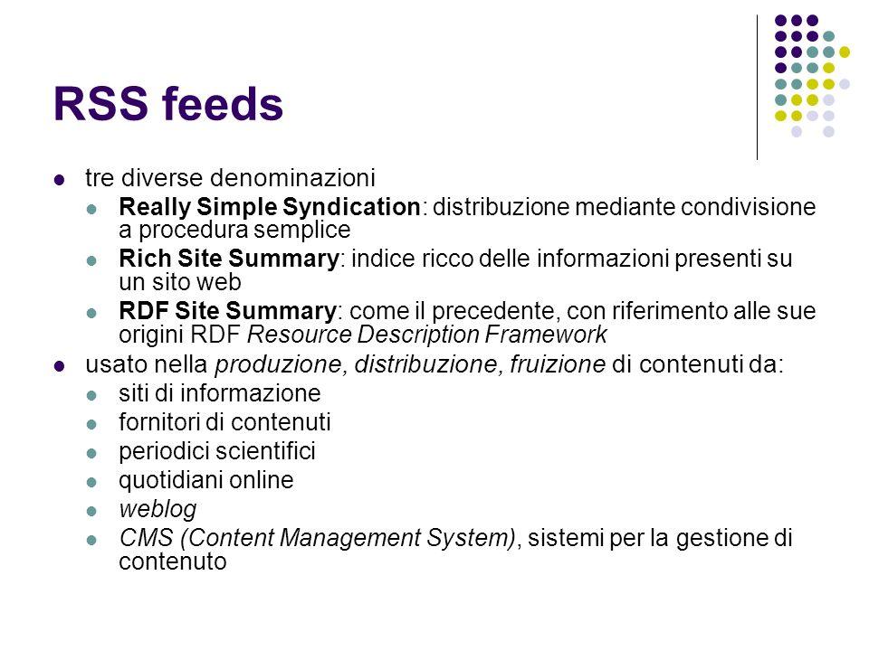 RSS feeds tre diverse denominazioni Really Simple Syndication: distribuzione mediante condivisione a procedura semplice Rich Site Summary: indice ricc