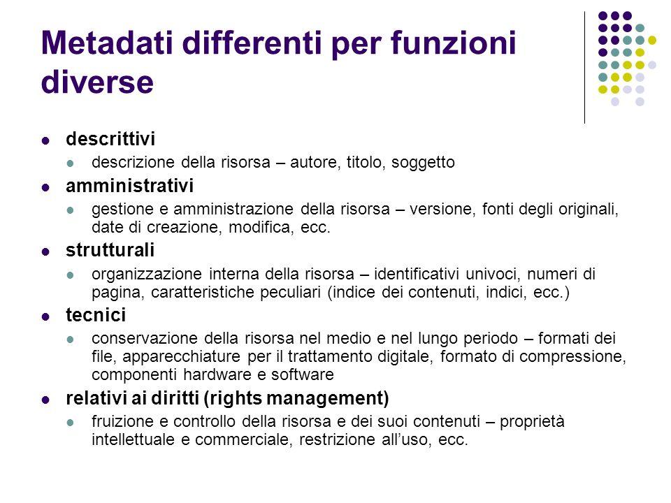 Metadati differenti per funzioni diverse descrittivi descrizione della risorsa – autore, titolo, soggetto amministrativi gestione e amministrazione de