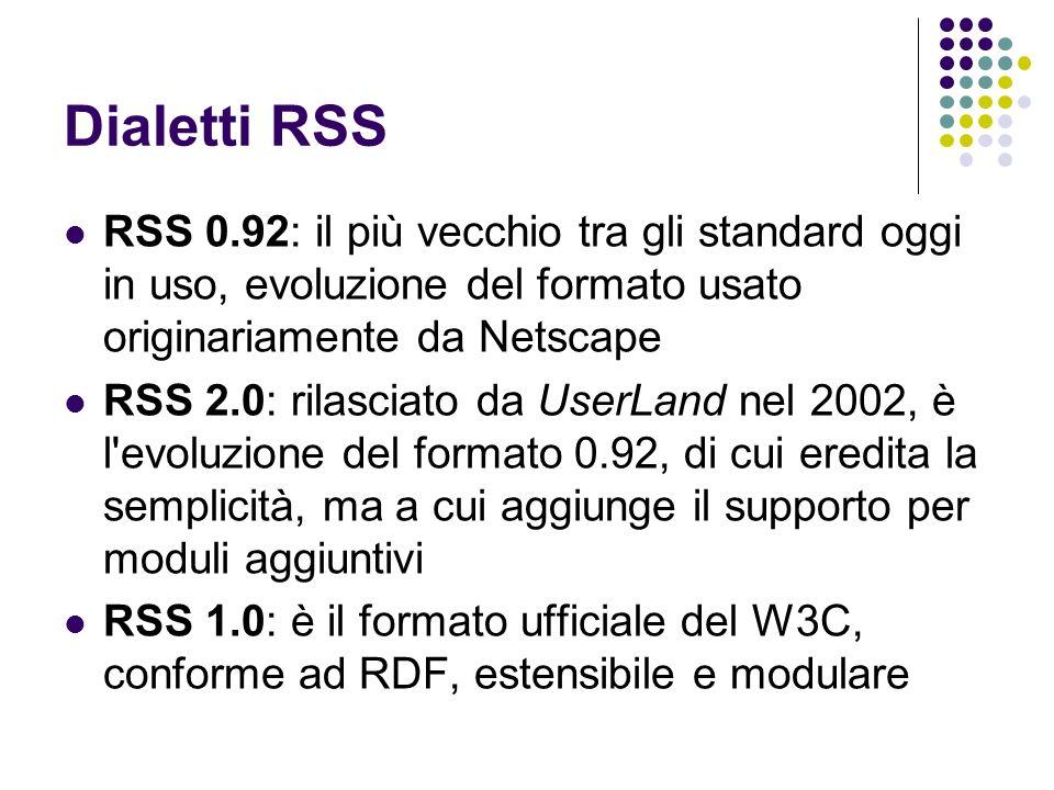 Dialetti RSS RSS 0.92: il più vecchio tra gli standard oggi in uso, evoluzione del formato usato originariamente da Netscape RSS 2.0: rilasciato da Us