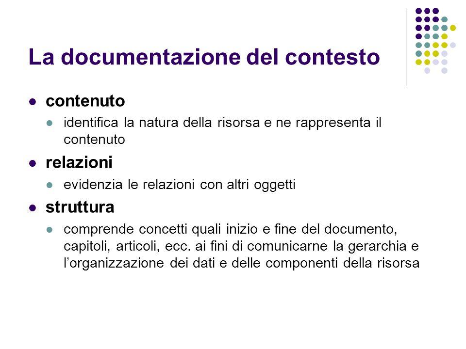La documentazione del contesto contenuto identifica la natura della risorsa e ne rappresenta il contenuto relazioni evidenzia le relazioni con altri o