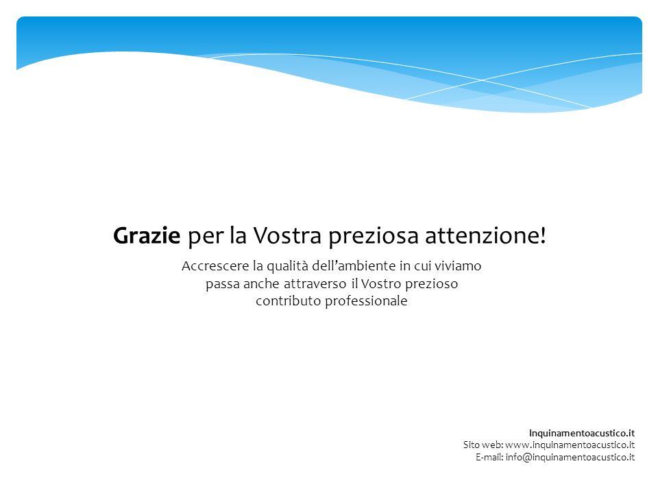Grazie per la Vostra preziosa attenzione! Inquinamentoacustico.it Sito web: www.inquinamentoacustico.it E-mail: info@inquinamentoacustico.it Accrescer