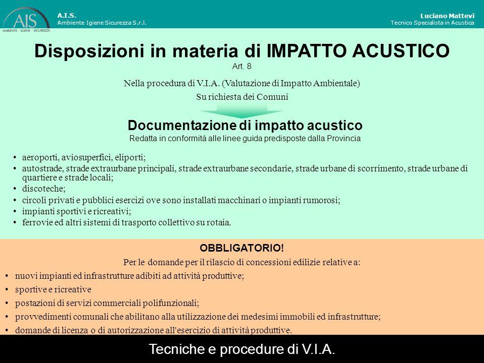 Luciano Mattevi Tecnico Specialista in Acustica A.I.S. Ambiente Igiene Sicurezza S.r.l. Disposizioni in materia di IMPATTO ACUSTICO Art. 8 Nella proce