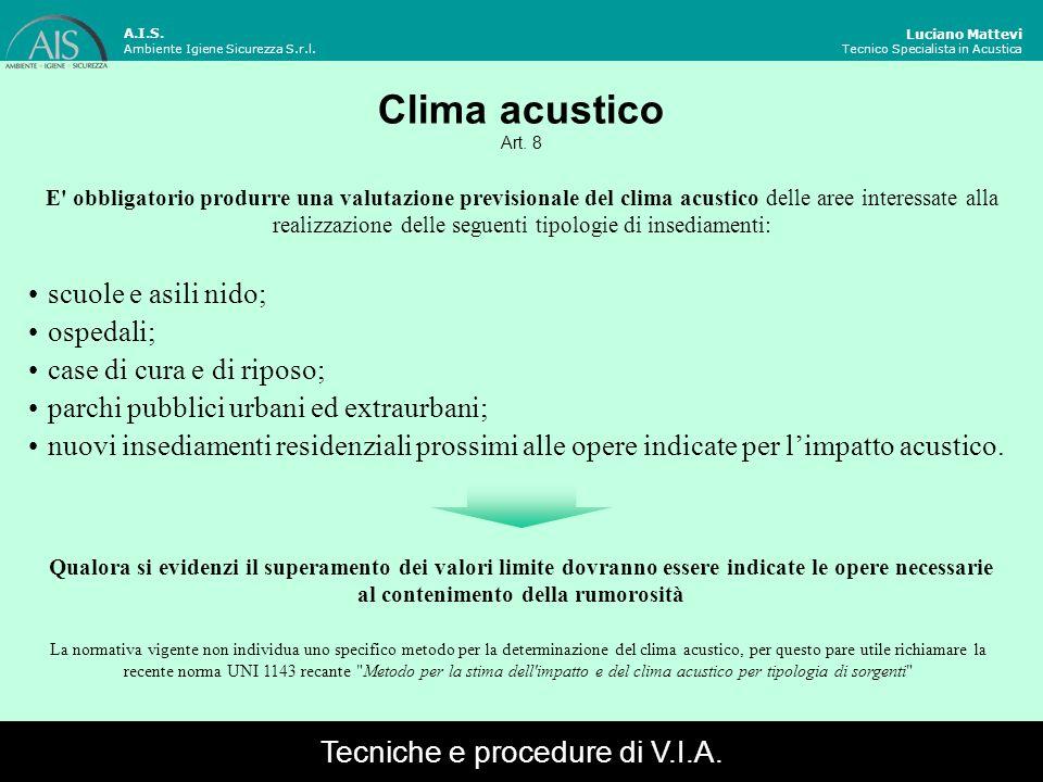 Luciano Mattevi Tecnico Specialista in Acustica A.I.S. Ambiente Igiene Sicurezza S.r.l. Clima acustico Art. 8 E' obbligatorio produrre una valutazione