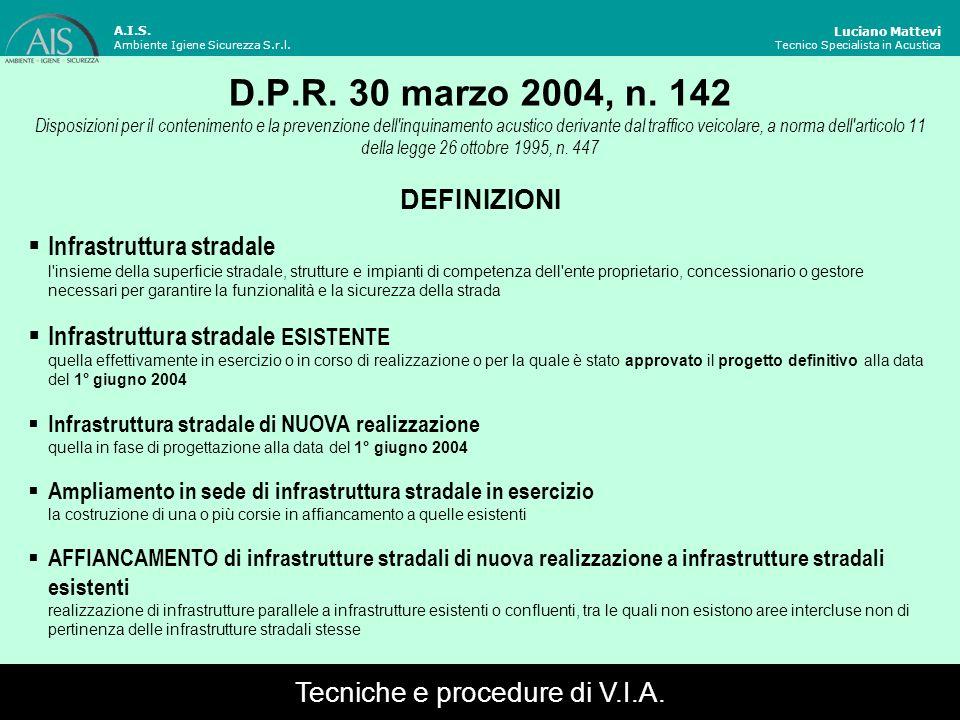D.P.R. 30 marzo 2004, n. 142 Disposizioni per il contenimento e la prevenzione dell'inquinamento acustico derivante dal traffico veicolare, a norma de