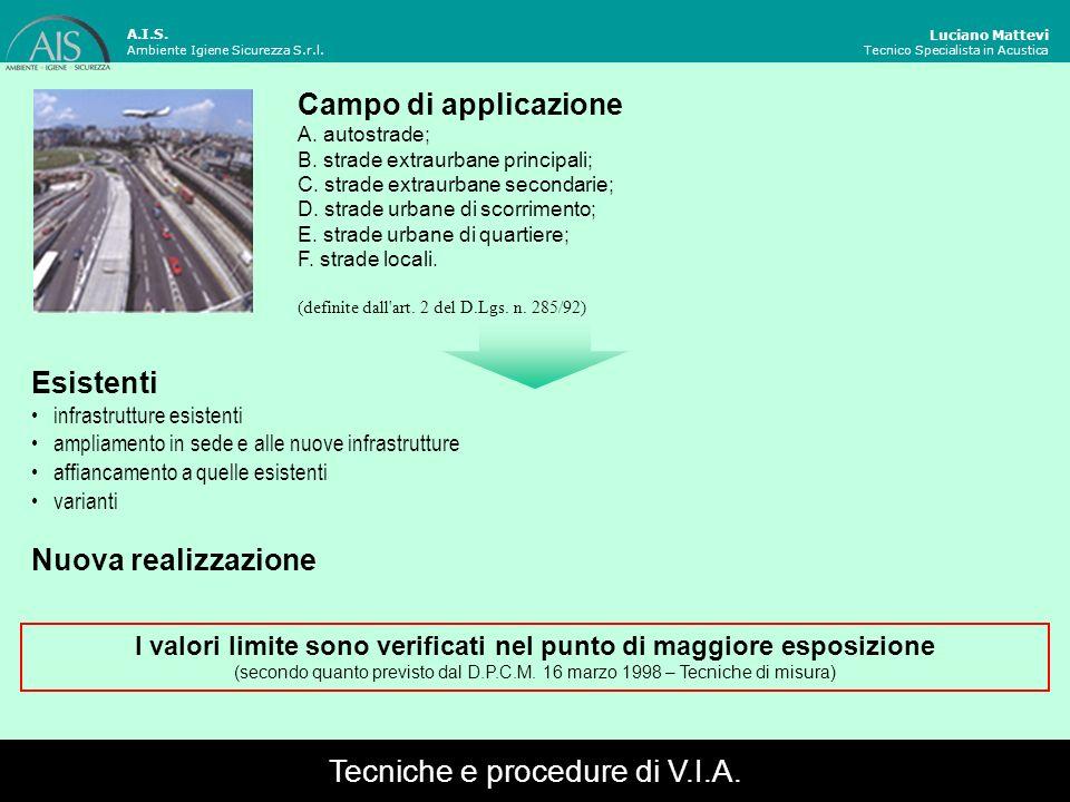 Luciano Mattevi Tecnico Specialista in Acustica Esistenti infrastrutture esistenti ampliamento in sede e alle nuove infrastrutture affiancamento a que