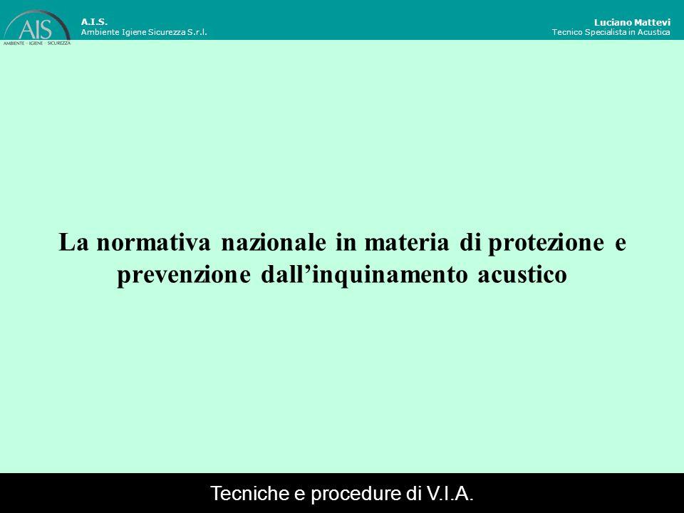 La normativa nazionale in materia di protezione e prevenzione dallinquinamento acustico Luciano Mattevi Tecnico Specialista in Acustica A.I.S. Ambient