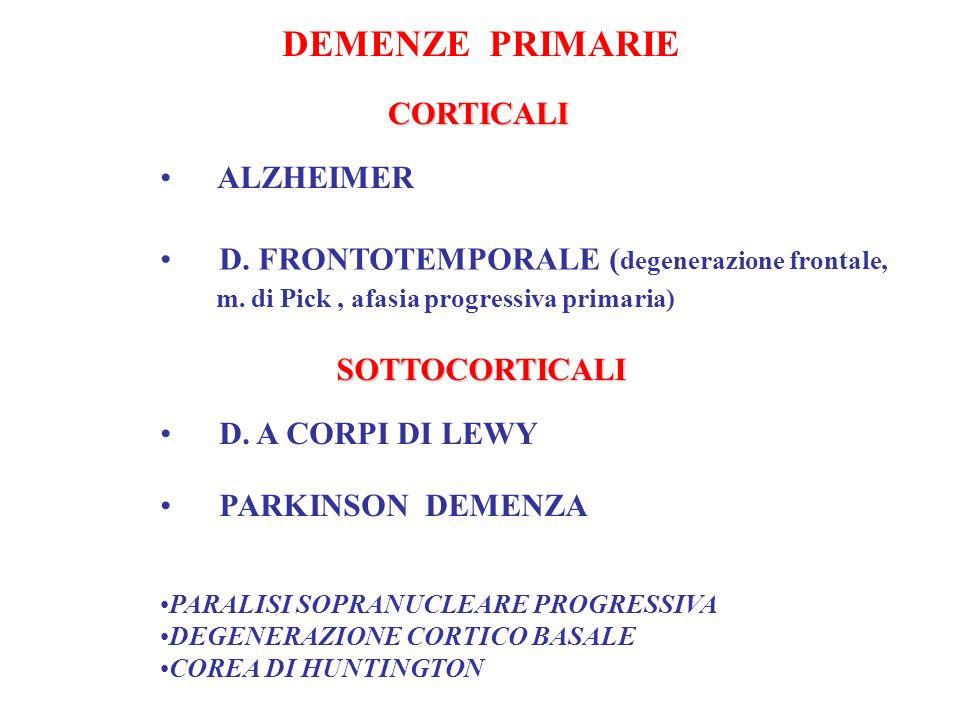 DEMENZE PRIMARIE ALZHEIMER D. FRONTOTEMPORALE ( degenerazione frontale, m. di Pick, afasia progressiva primaria) D. A CORPI DI LEWY PARKINSON DEMENZA