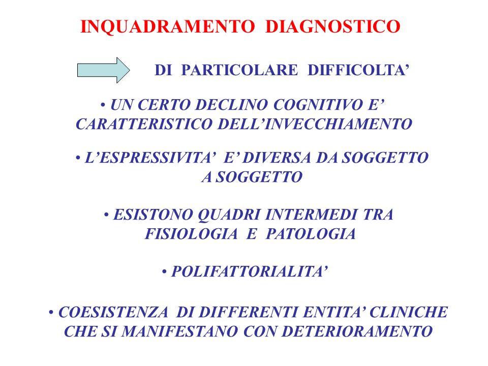 INQUADRAMENTO DIAGNOSTICO DI PARTICOLARE DIFFICOLTA UN CERTO DECLINO COGNITIVO E CARATTERISTICO DELLINVECCHIAMENTO LESPRESSIVITA E DIVERSA DA SOGGETTO