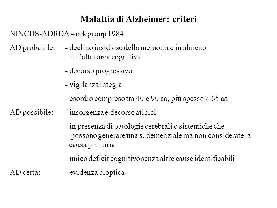 Malattia di Alzheimer: criteri NINCDS-ADRDA work group 1984 AD probabile:- declino insidioso della memoria e in almeno unaltra area cognitiva - decors