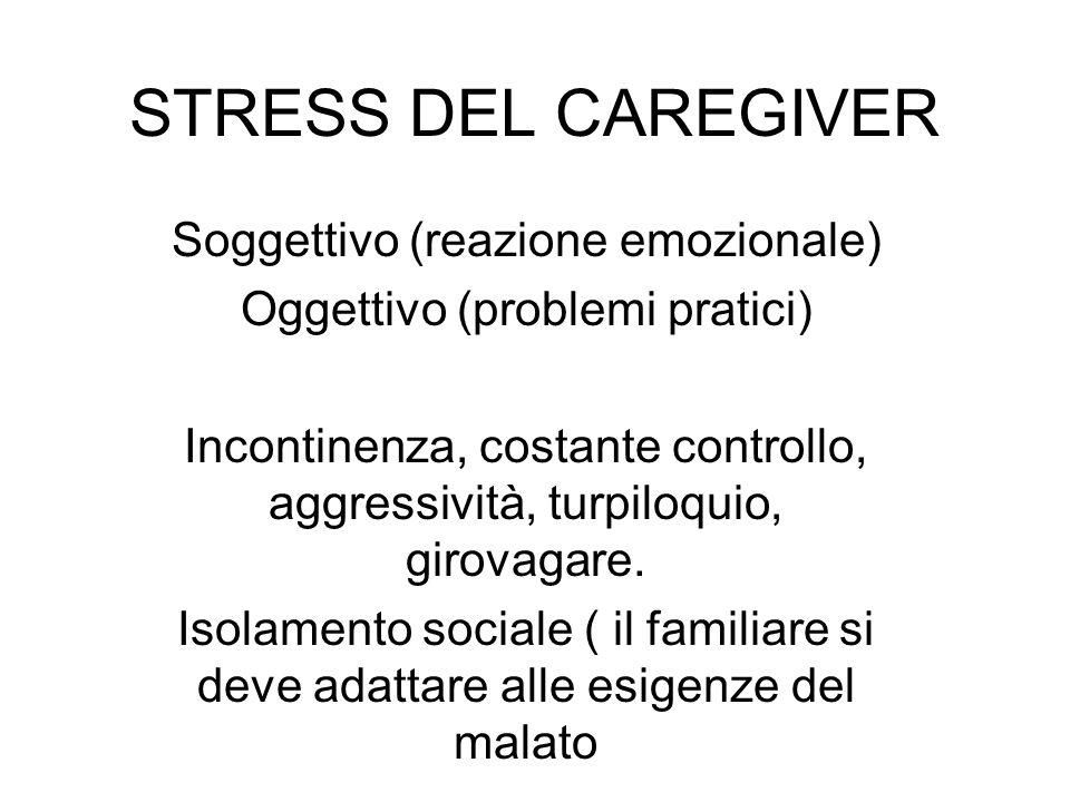 STRESS DEL CAREGIVER Soggettivo (reazione emozionale) Oggettivo (problemi pratici) Incontinenza, costante controllo, aggressività, turpiloquio, girova