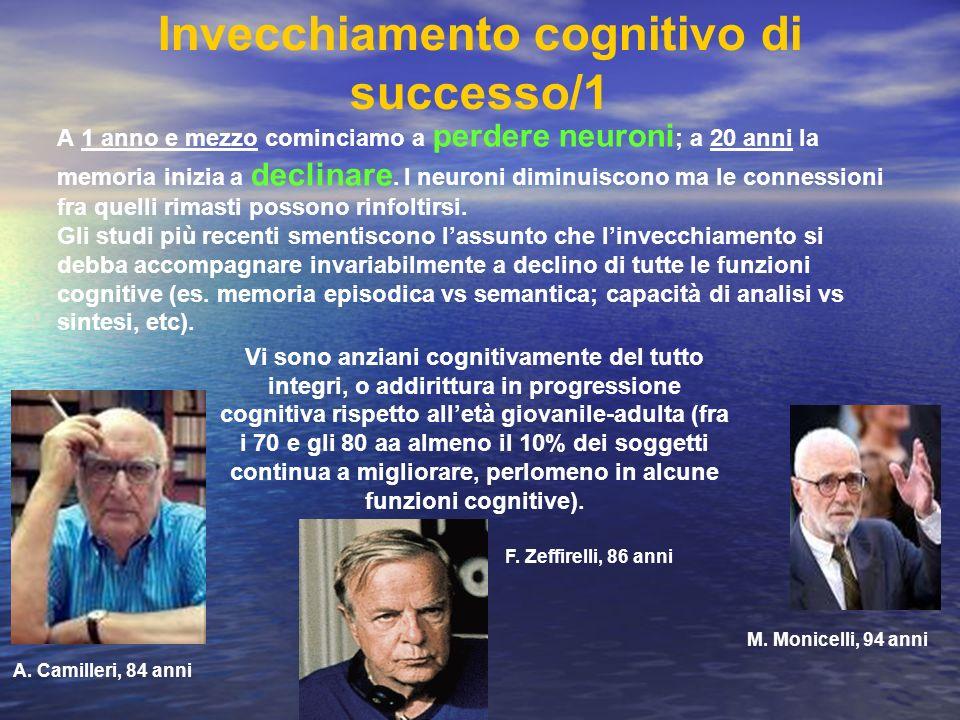 Invecchiamento cognitivo di successo/1 A 1 anno e mezzo cominciamo a perdere neuroni ; a 20 anni la memoria inizia a declinare. I neuroni diminuiscono